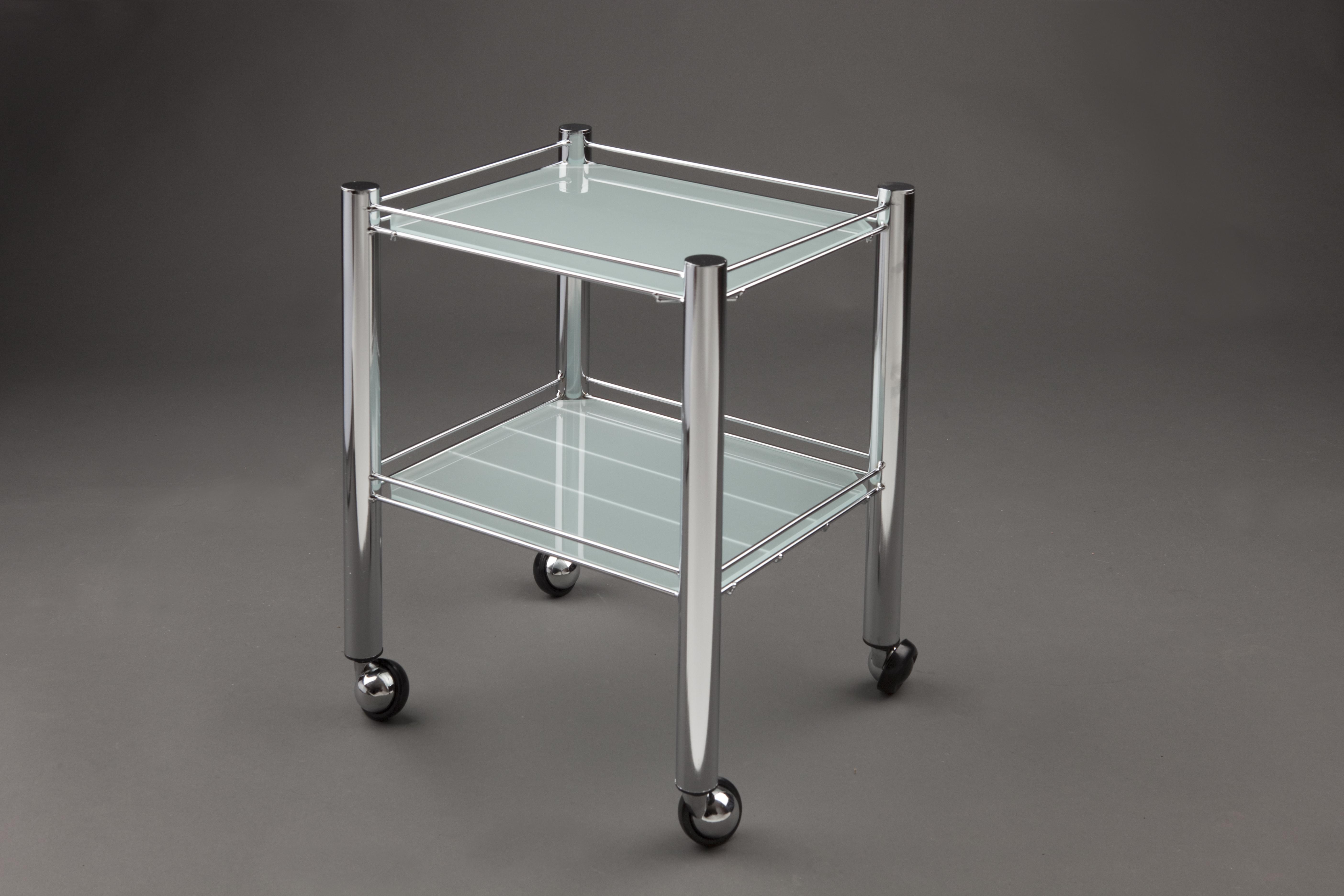 Carrito de ba o doble cristal con ruedas cromadas for Accesorios bano cristal
