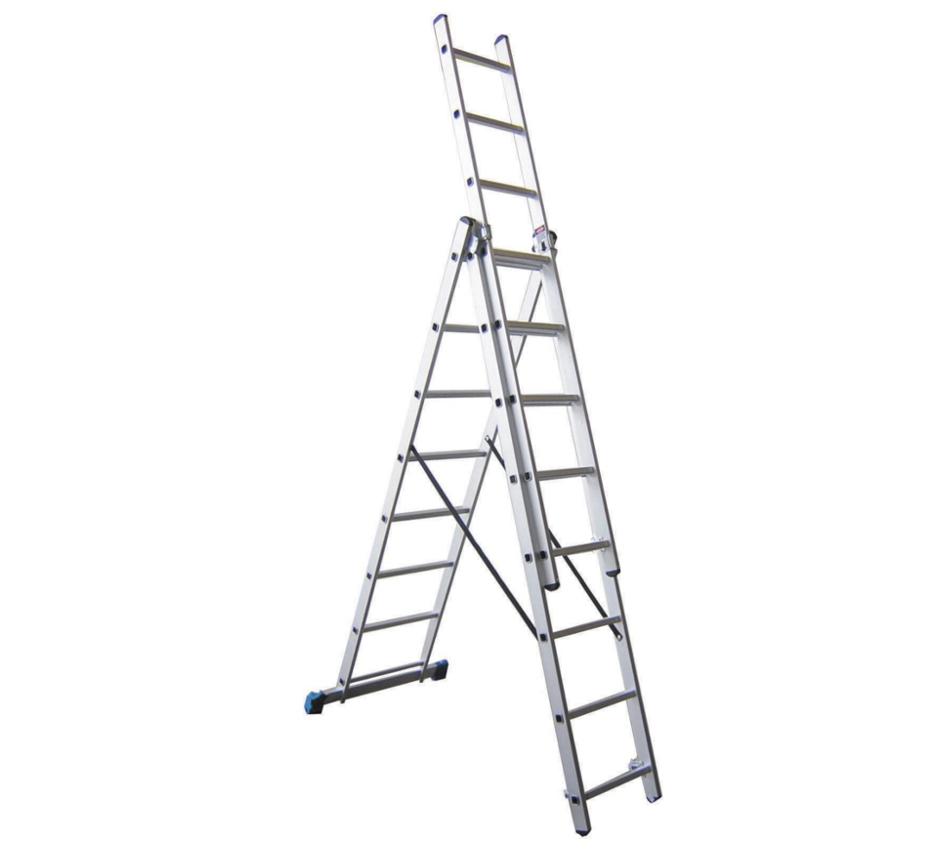 Escalera transformable triple 8 pelda os for Escaleras 8 peldanos